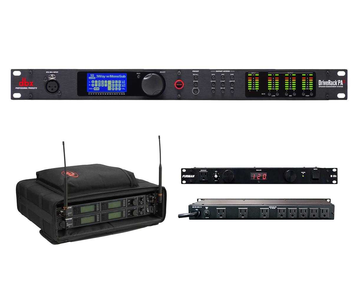 dbx DriveRack PA2 + SKB 1SKB-SC192U + Furman M-8Dx