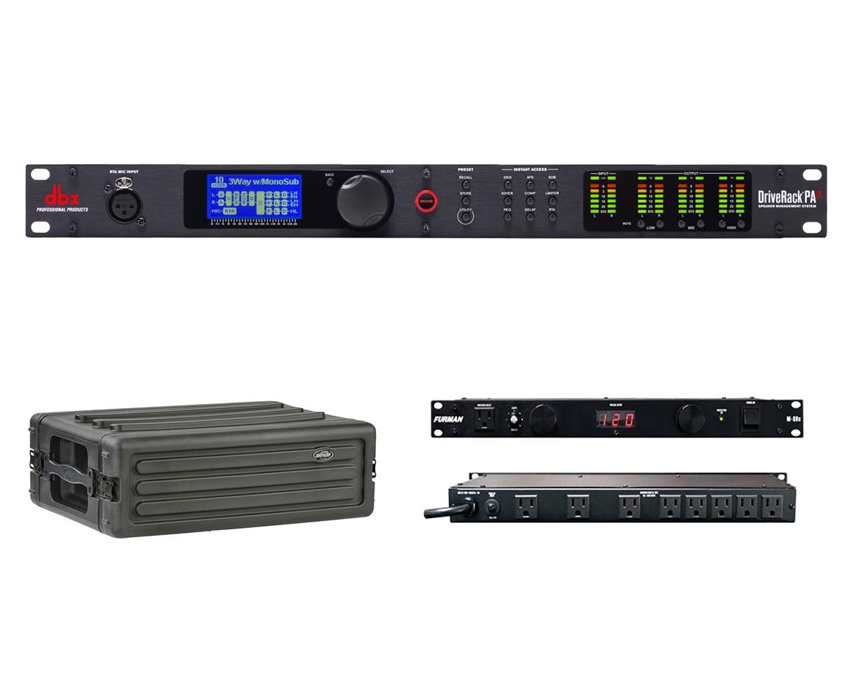 dbx DriveRack PA2 + SKB 1SKB-R3S + Furman M-8Dx