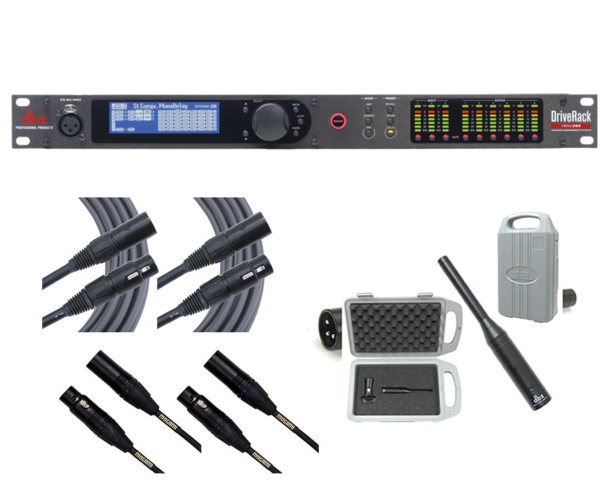 dbx DriveRack VENU360 + RTA-M + 2x Mogami 6' and 2x 20' Cables