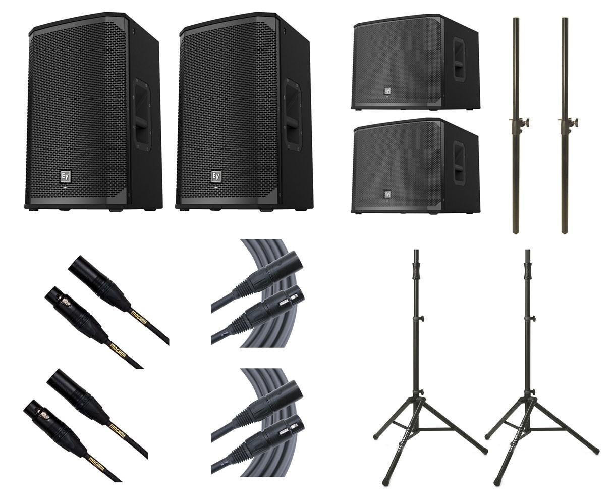 2x Electro-Voice EKX-12P + 2x EV EXK-15SP + 2x Ultimate TS-100B + Mogami Cables + Poles