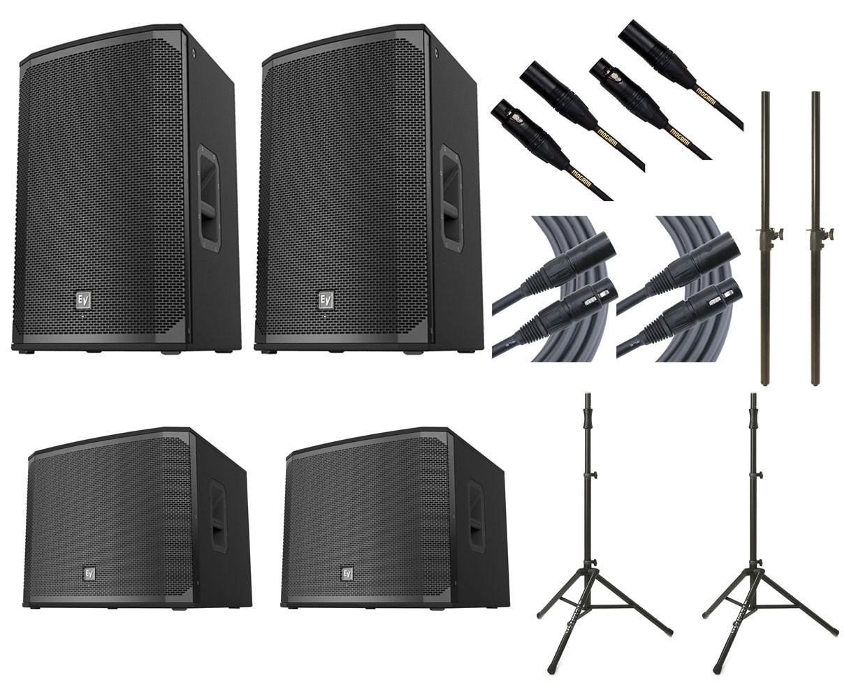 2x Electro-Voice EKX-15P + 2x EV EXK-18SP + 2x Ultimate TS-100B + Mogami Cables + Poles