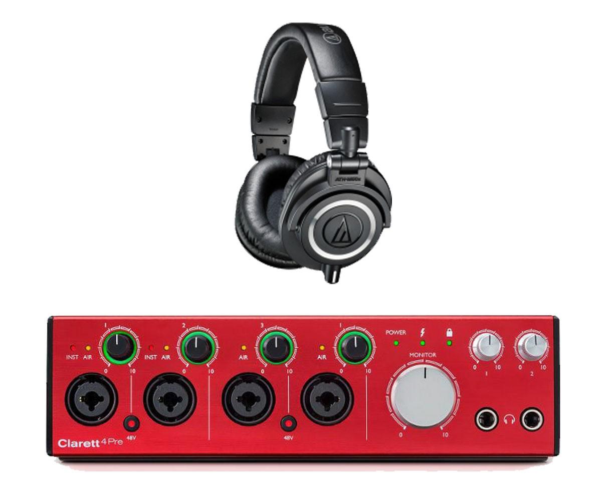 Focusrite Clarett 4Pre + Audio-Technica ATH-M50x