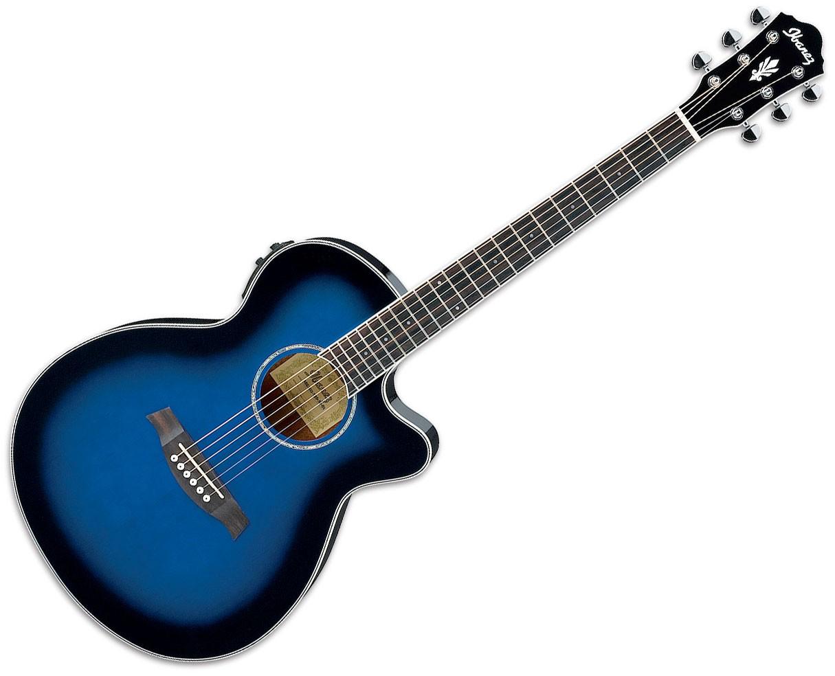 Ibanez AEG10II 6-String Acoustic-Electric Guitar - Transparent Blue Sunburst Gloss