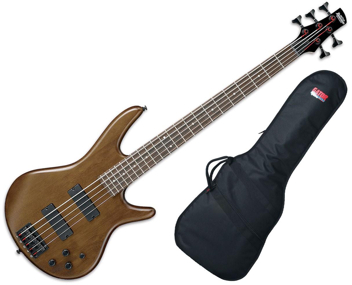 Ibanez GSR205BWNF GSR 5-String Electric Bass Guitar - Walnut Flat with Gator GBE-BASS