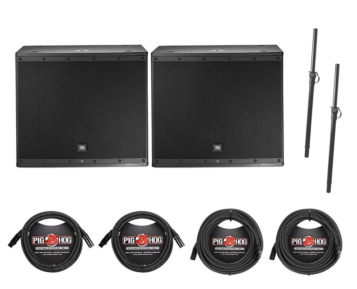 2x JBL EON618S + Poles + Cables