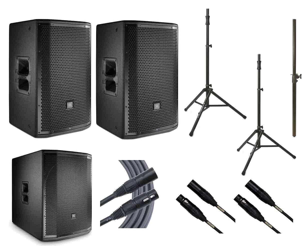2x JBL PRX812W + JBL PRX818XLFW + 2x Ultimate TS-100B + Mogami Cables + Pole