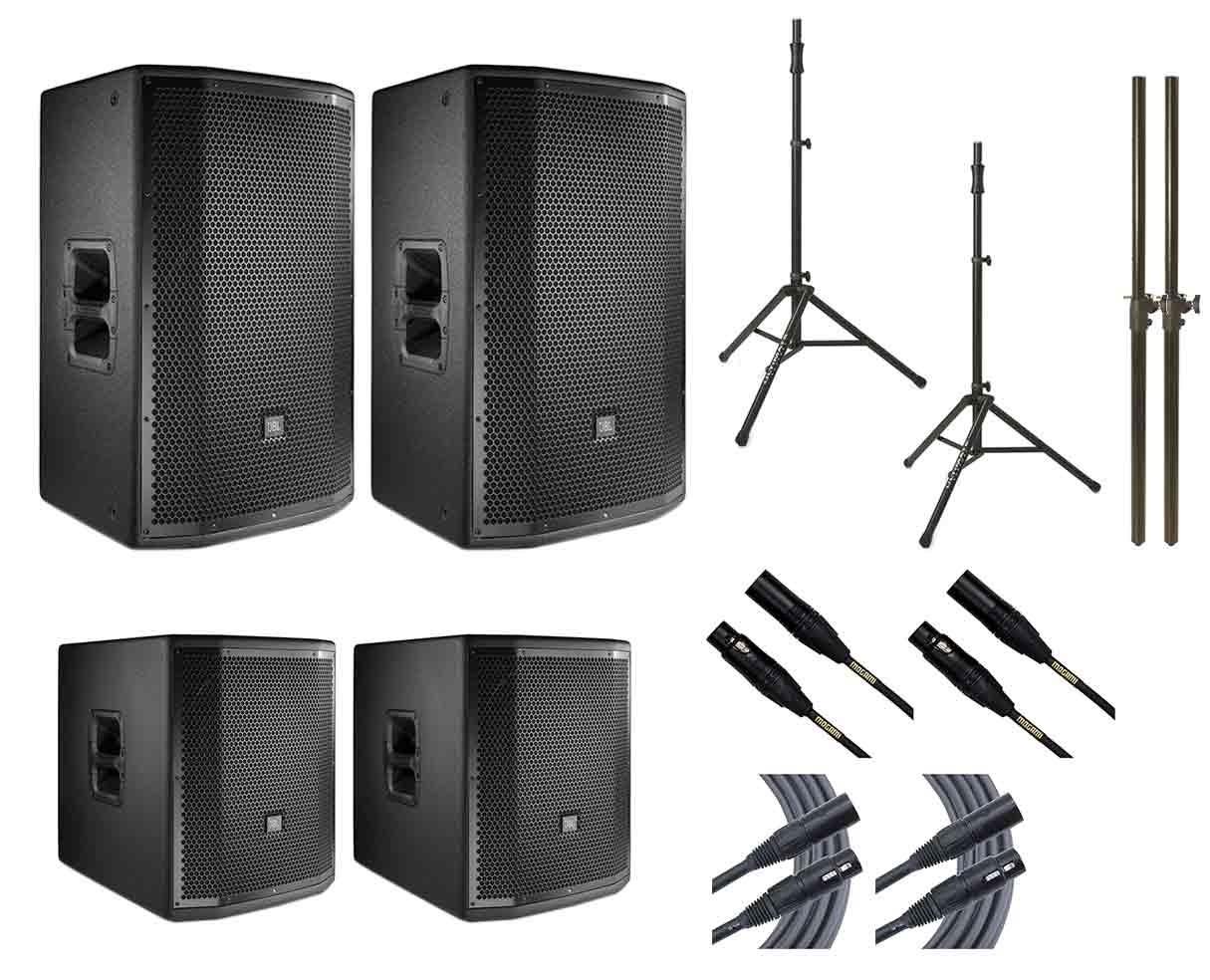 2x JBL PRX815W + 2x JBL PRX815XLFW + 2x Ultimate TS-100B + Mogami Cables + Poles