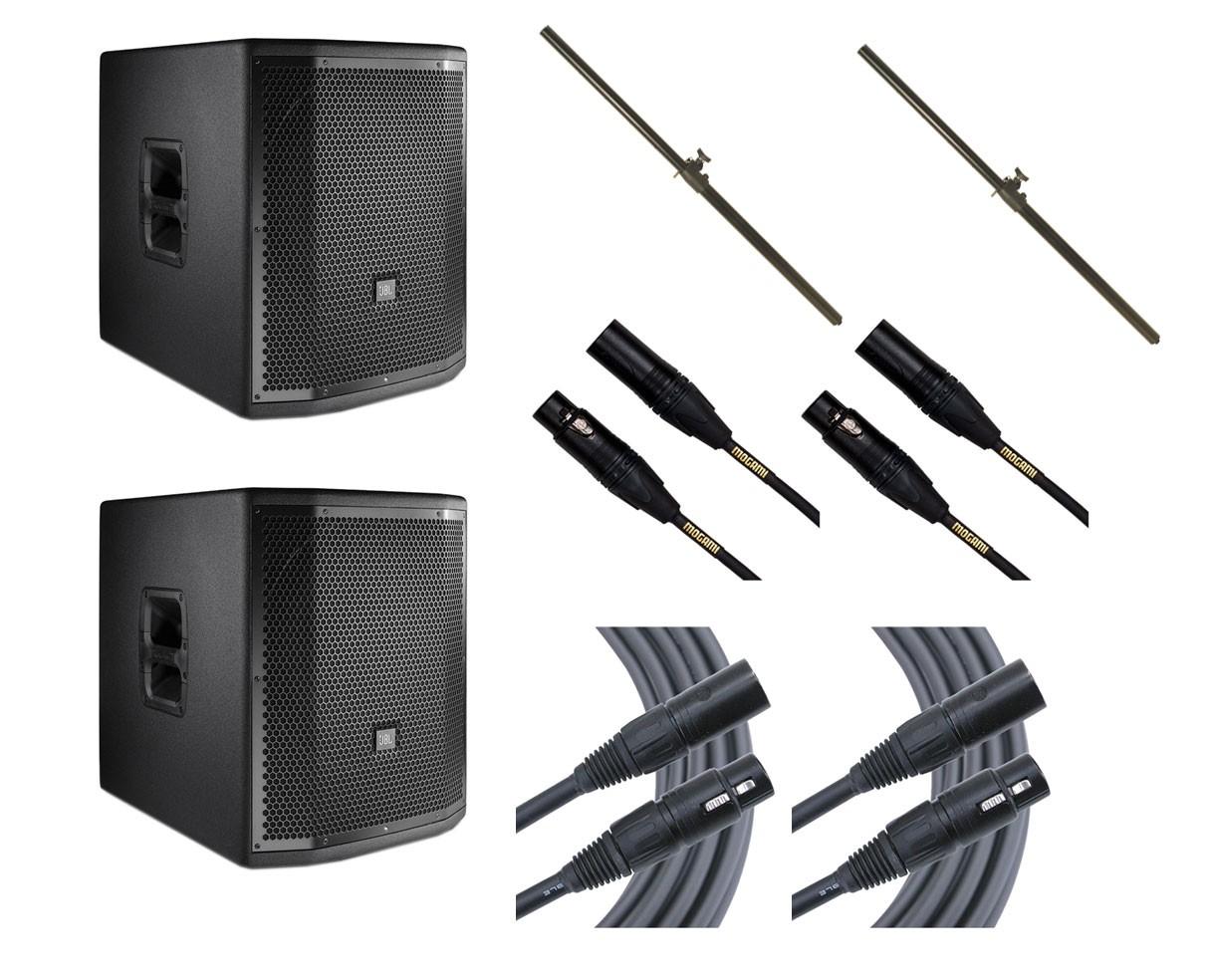 2x JBL PRX815XLFW + Poles + Mogami Cables