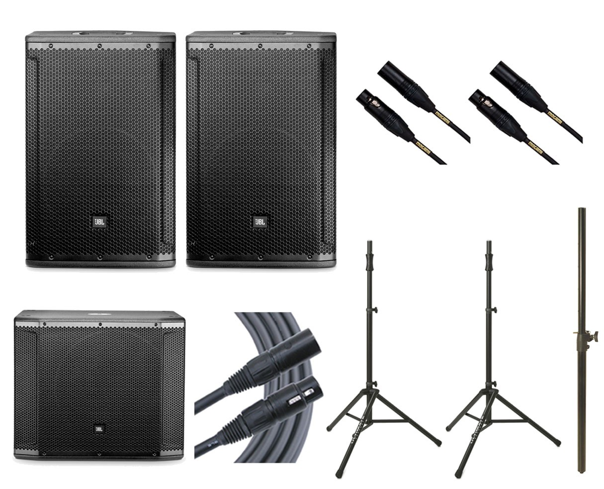 2x JBL SRX812P + JBL SRX818SP + 2x Ultimate TS-100B + Mogami Cables + Pole