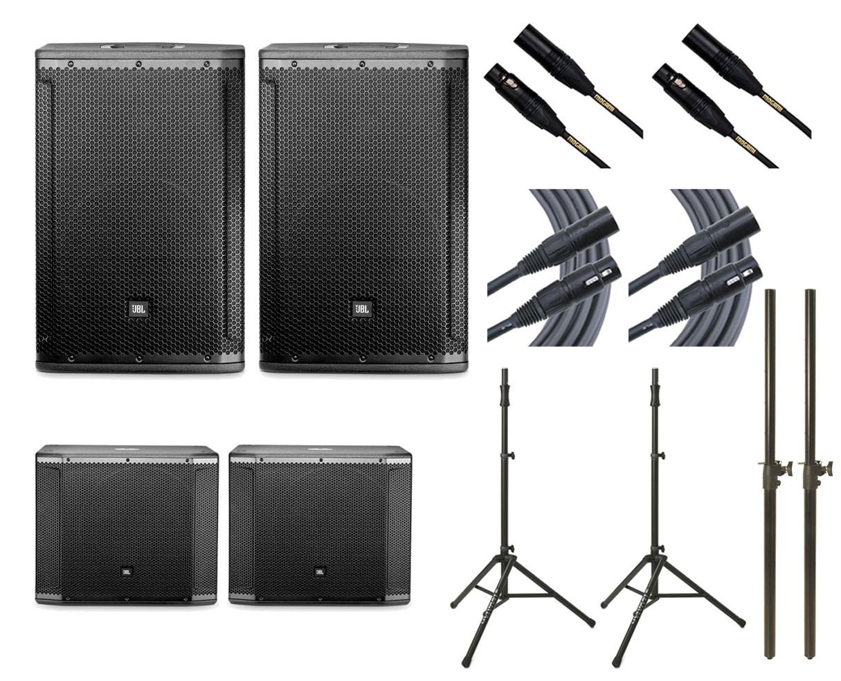 2x JBL SRX812P + 2x JBL SRX818SP + 2x Ultimate TS-100B + Mogami Cables + Poles