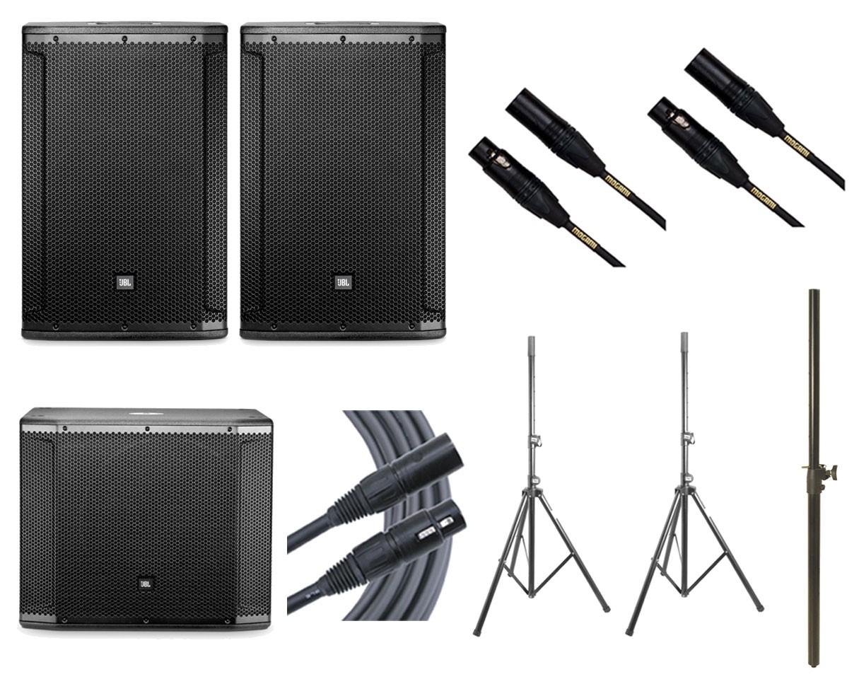 2x JBL SRX815P + JBL SRX818SP + 2x Ultimate TS-100B + Mogami Cables + Pole