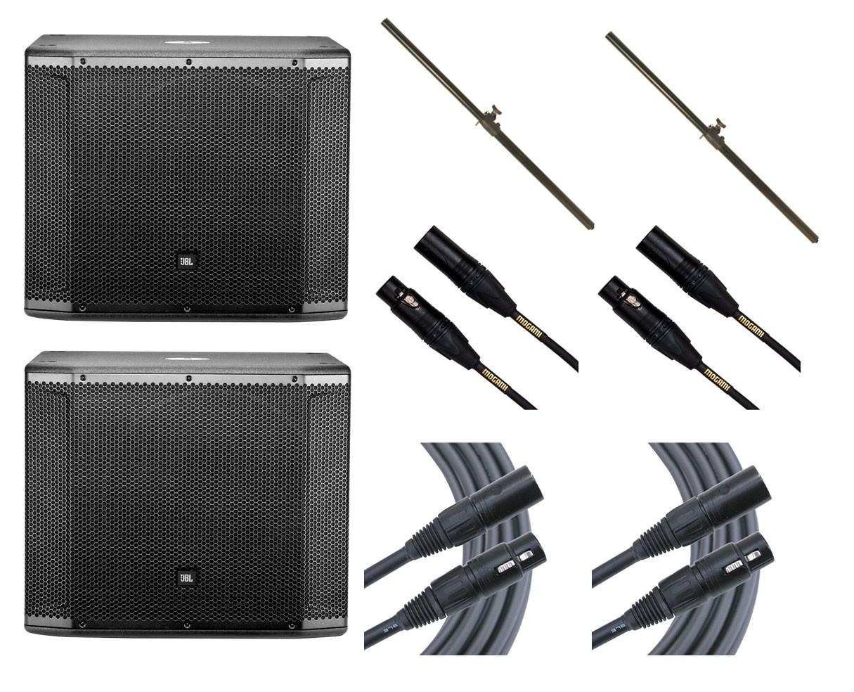 2x JBL SRX818SP + Poles + Mogami Cables