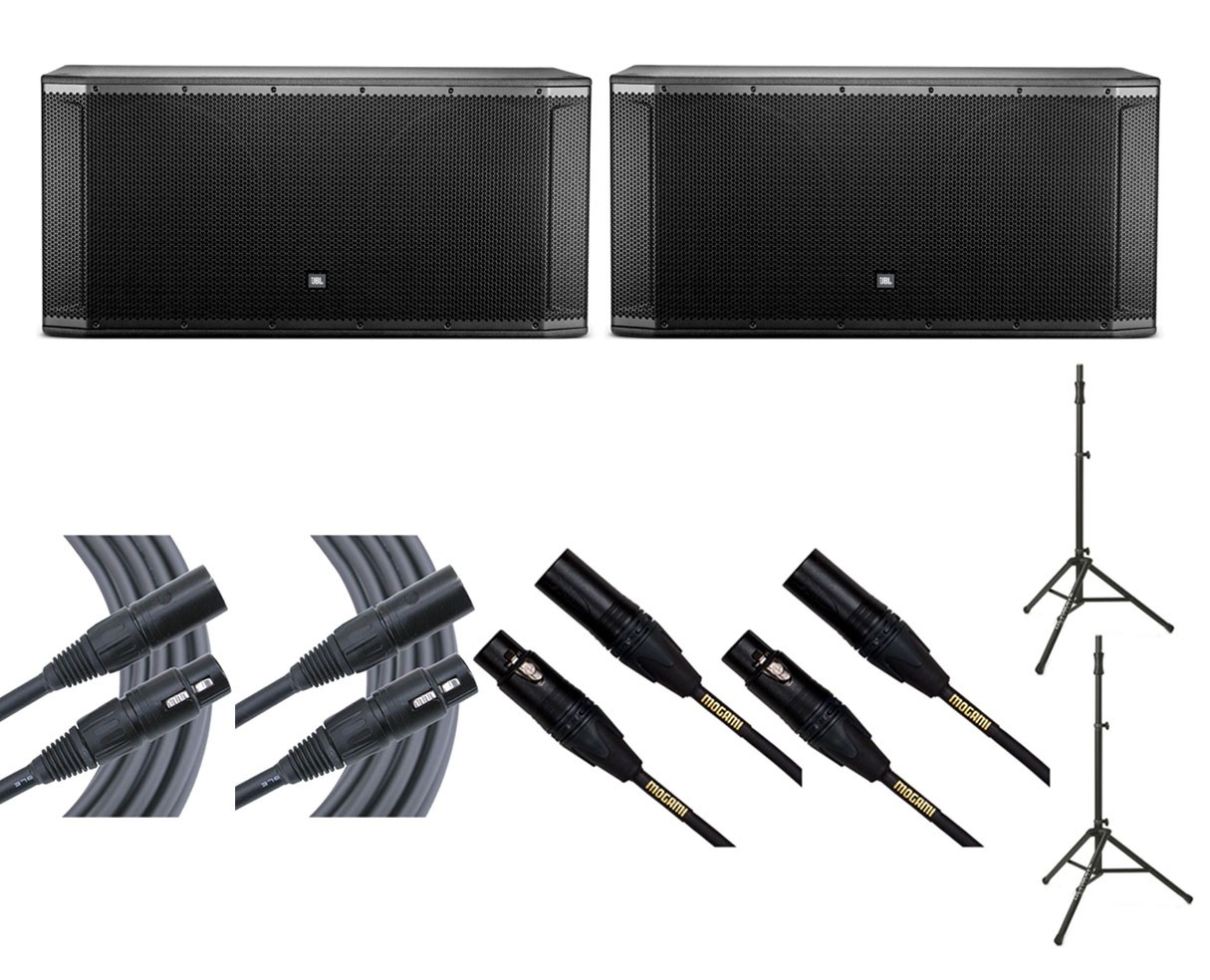 2x JBL SRX828SP + Ultimate TS-100B + Mogami Cables
