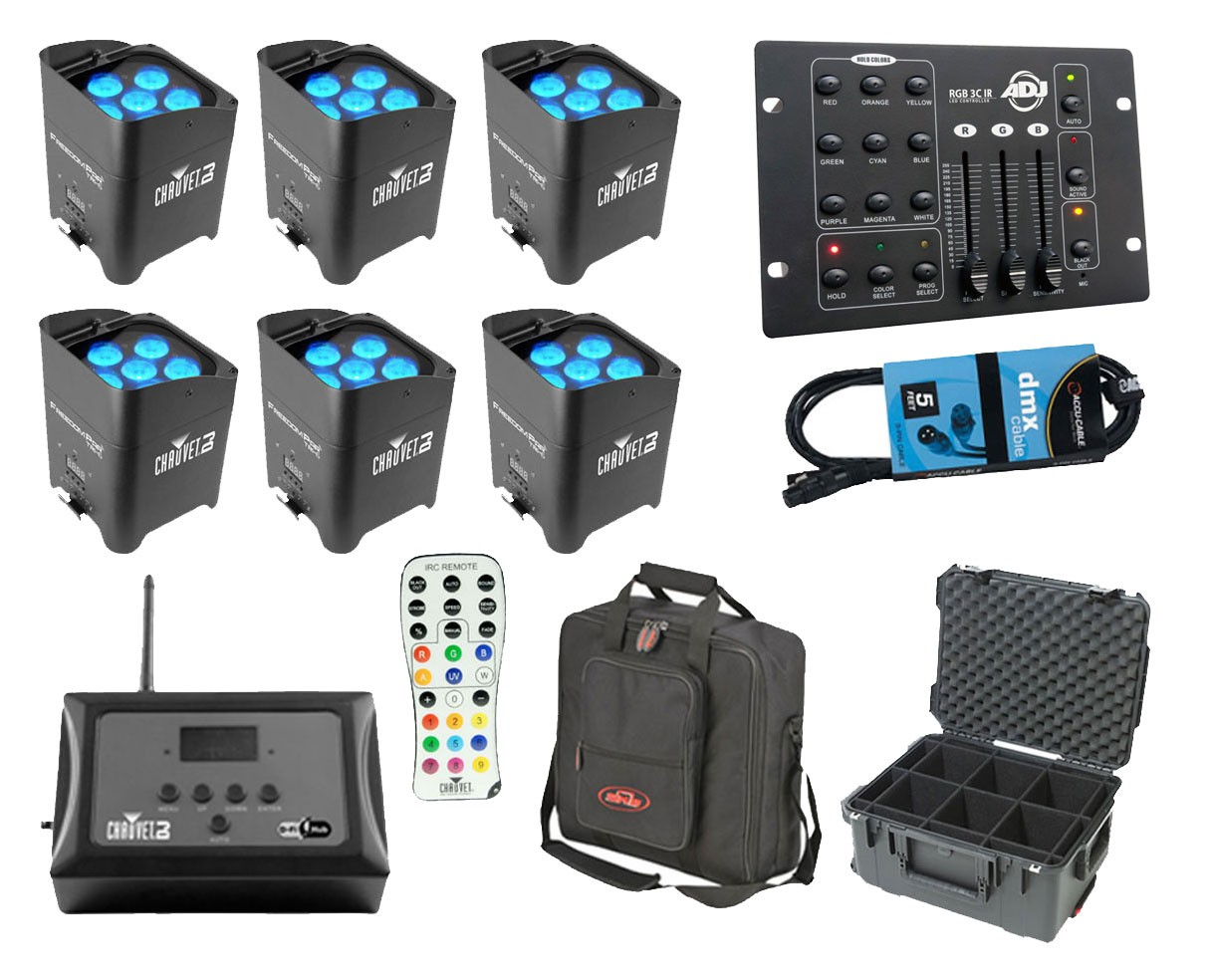 6x CHAUVET DJ Freedom Par Tri-6 + D-Fi Hub + Controller + Case + Bag + Cable