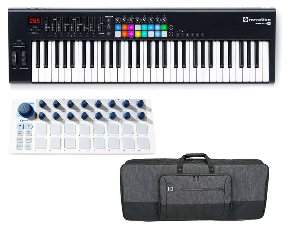 Novation Launchkey 61-Key MIDI Controller + Arturia Beatstep + Bag