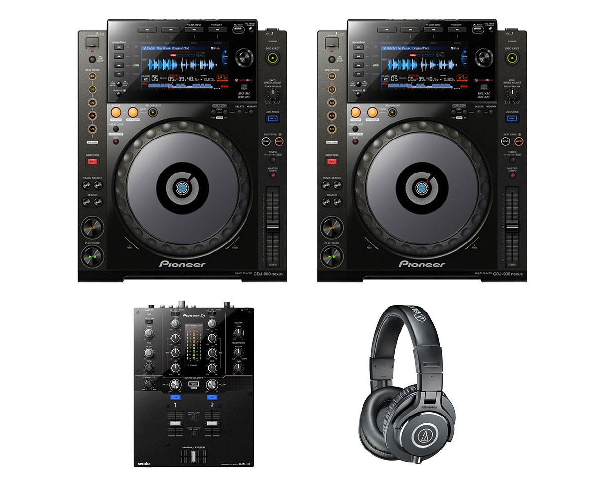 2x Pioneer CDJ-900 Nexus + DJM-S3 + ATH-M40X