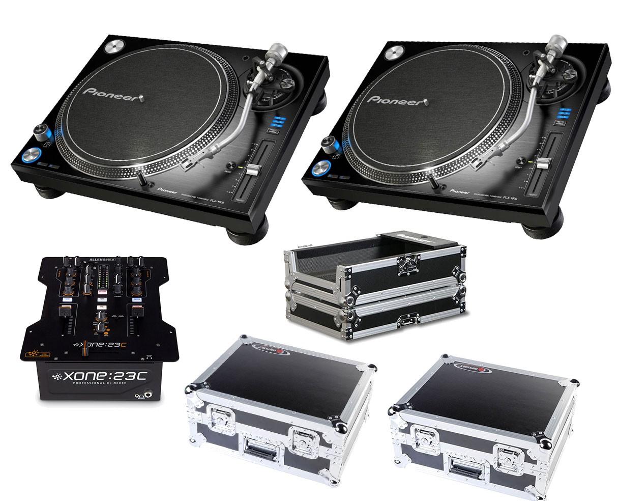 2x Pioneer PLX-1000 + Xone:23C + Odyssey Cases