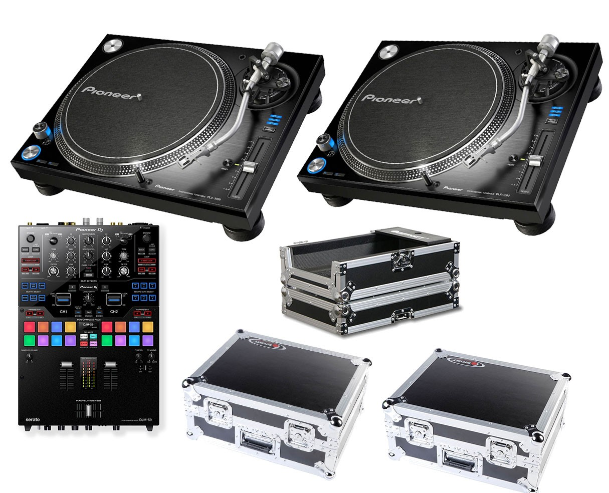 2x Pioneer PLX-1000 + DJM-S9 + Odyssey Cases