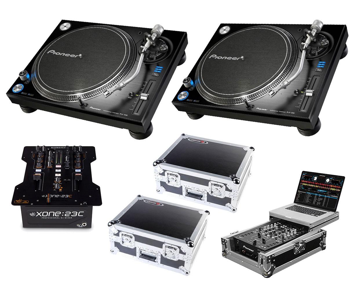 2x Pioneer PLX-1000 + Xone:23C + Odyssey Cases + Glide Style Case