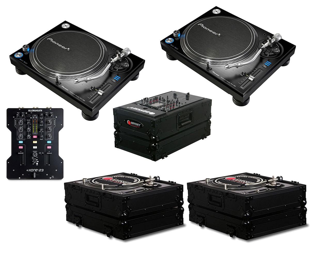 2x Pioneer PLX-1000 + Xone:23 + Odyssey Black Label Cases