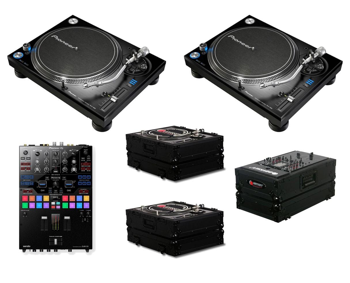 2x Pioneer PLX-1000 + DJM-S9 + Odyssey Black Label Cases