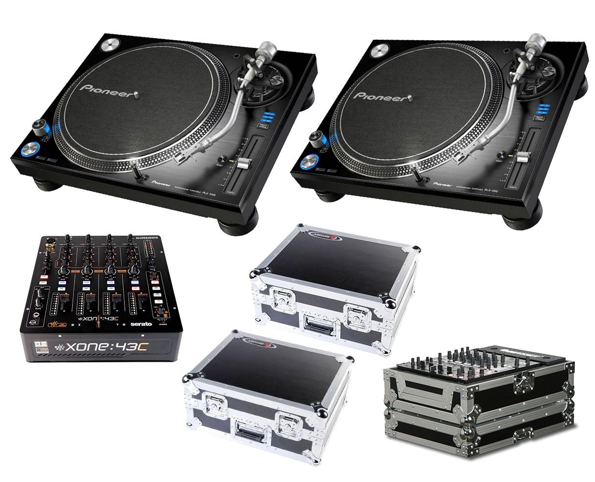 2x Pioneer PLX-1000 + Xone:43C + Odyssey Cases