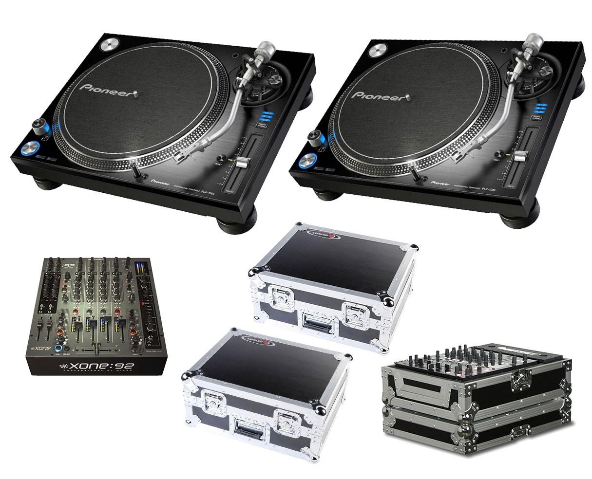 2x Pioneer PLX-1000 + Xone:92 Fader + Odyssey Cases