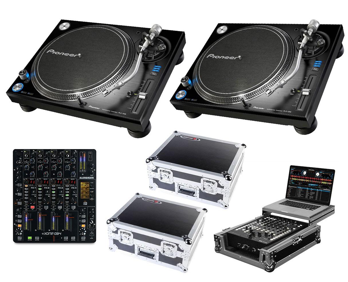 2x Pioneer PLX-1000 + Xone:DB4 + Odyssey Cases + Glide Style Case