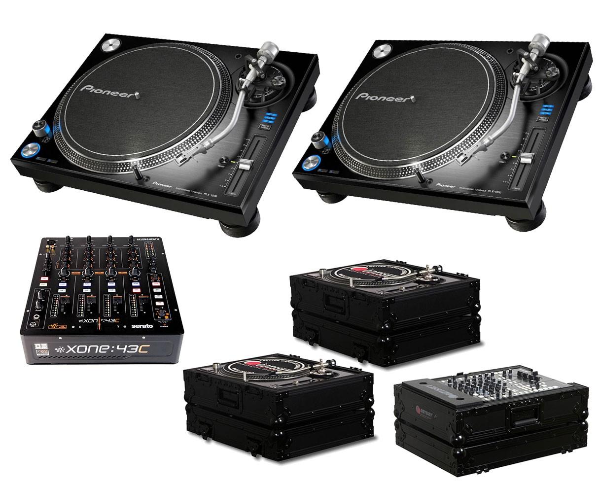 2x Pioneer PLX-1000 + Xone:43C + Odyssey Black Label Cases