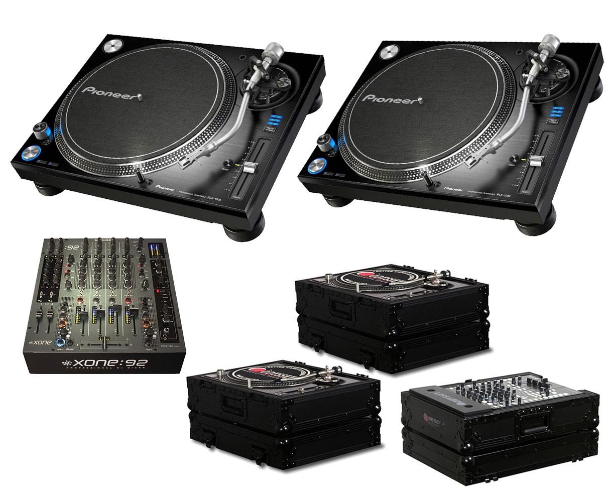 2x Pioneer PLX-1000 + Xone:92 Fader + Odyssey Black Label Cases