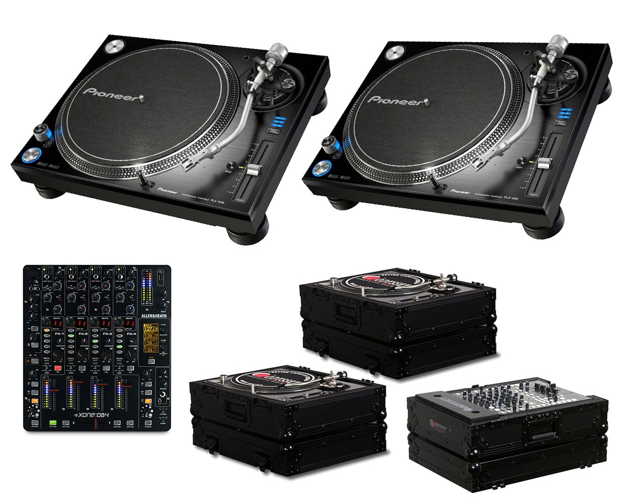 2x Pioneer PLX-1000 + Xone:DB4 + Odyssey Black Label Cases