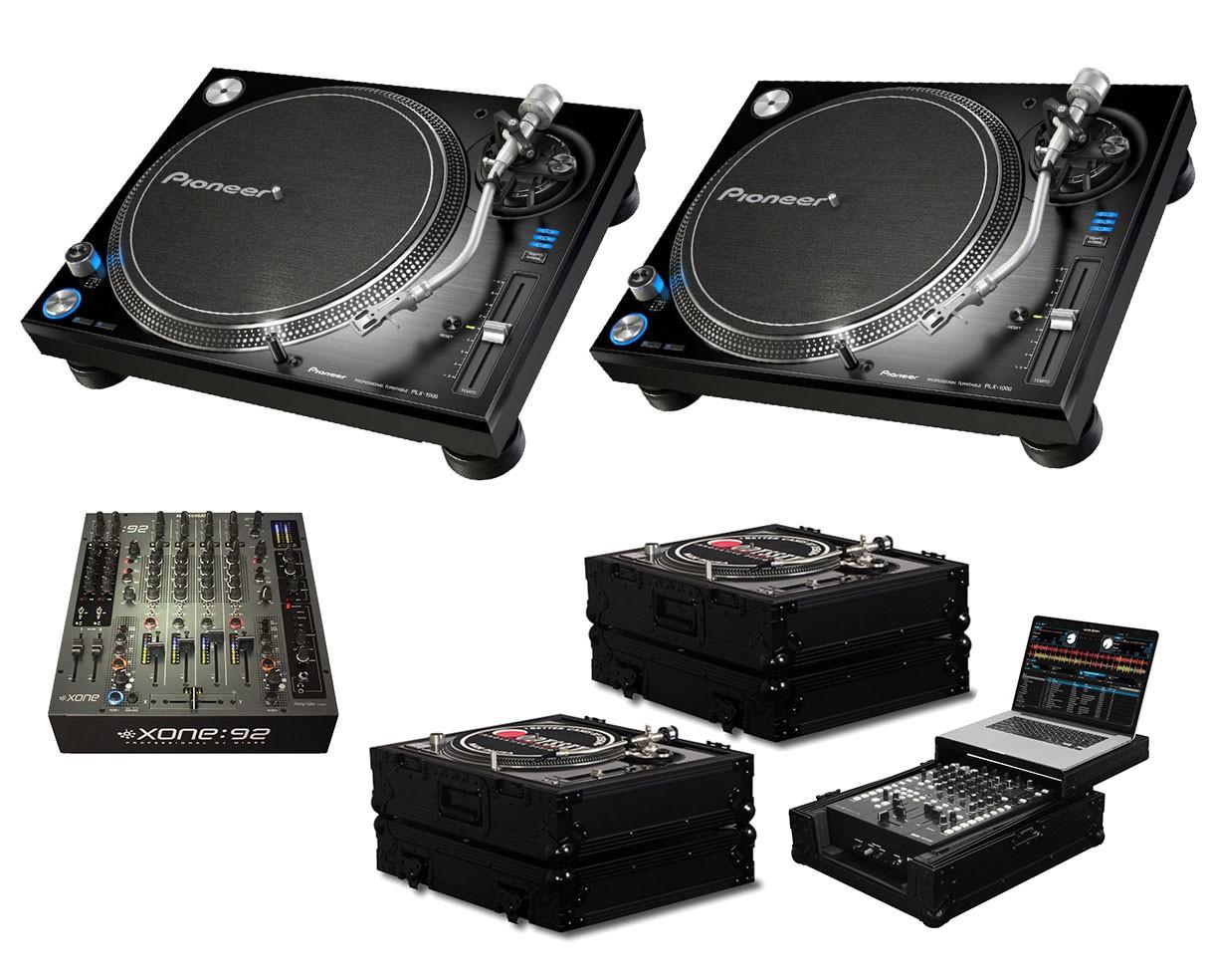 2x Pioneer PLX-1000 + Xone:92 Fader + Black Label Cases + Glide Style Case