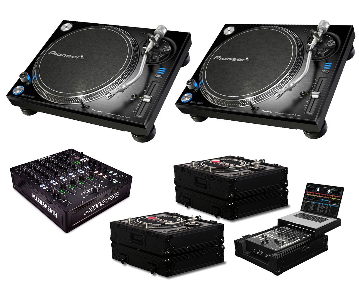 2x Pioneer PLX-1000 + Xone:PX5 + Black Label Cases + Glide Style Case