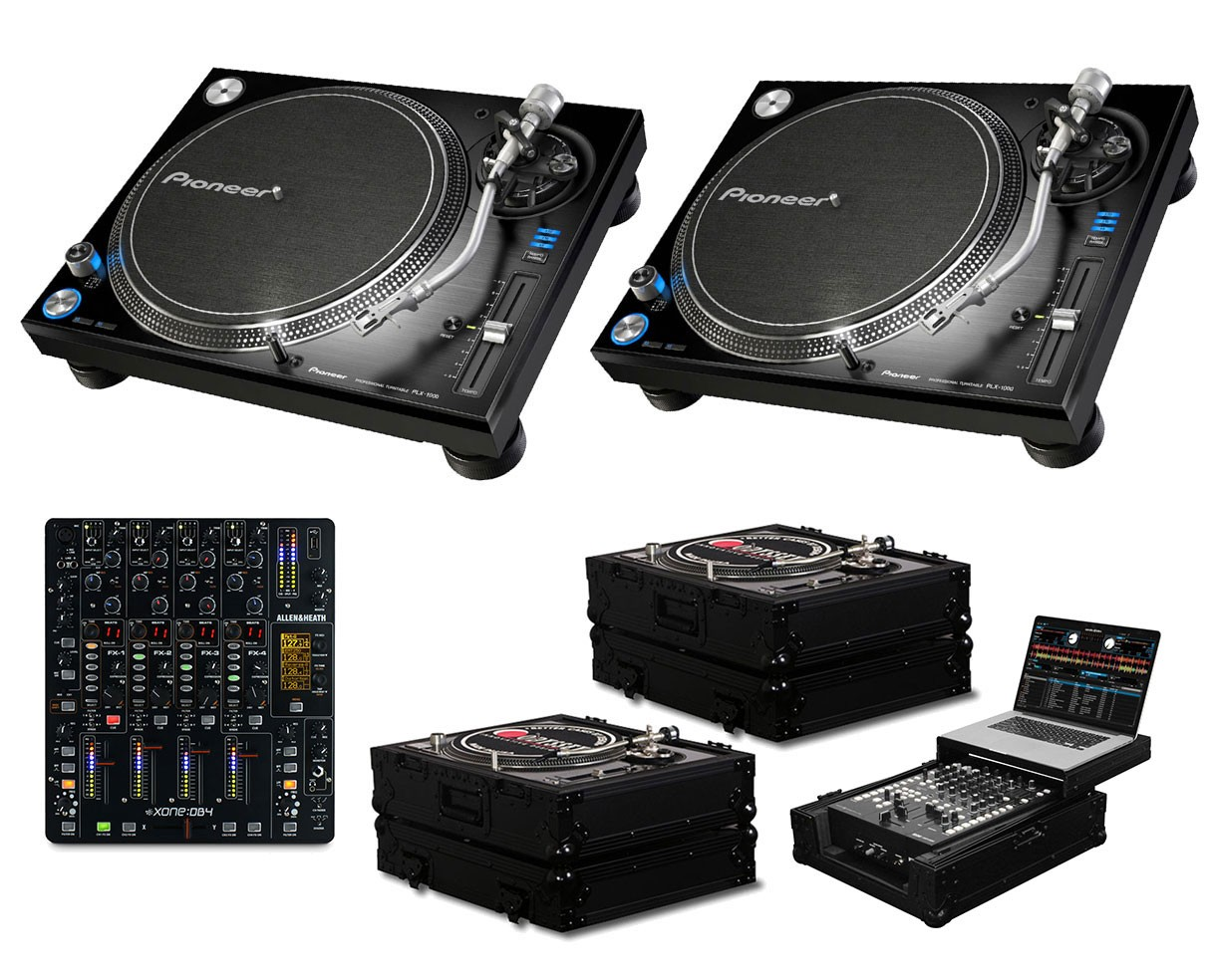 2x Pioneer PLX-1000 + Xone:DB4 + Black Label Cases + Glide Style Case