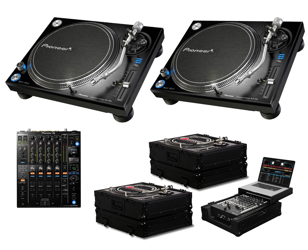 2x Pioneer PLX-1000 + DJM-900 Nexus 2 + Black Label Cases + Glide Style Case