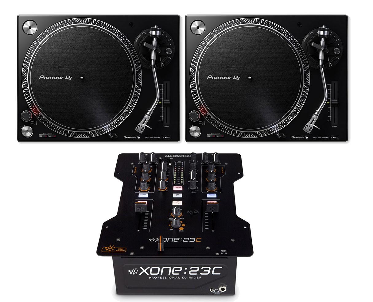 2x Pioneer PLX-500 + Allen & Heath Xone:23C
