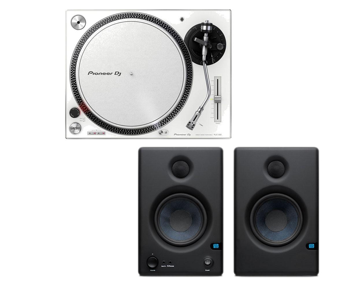 Pioneer PLX-500 (White) + 2x PreSonus Eris E4.5