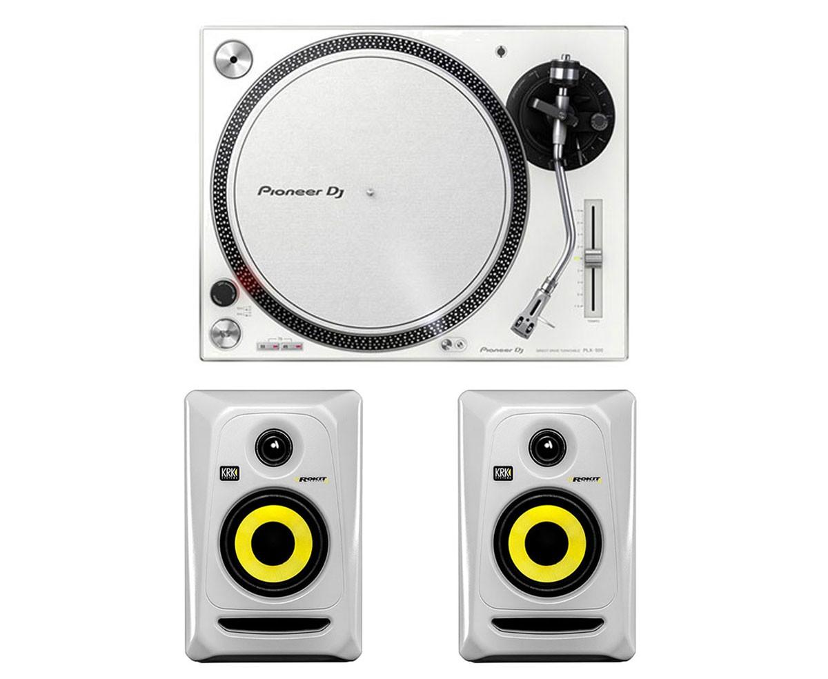 Pioneer PLX-500 (White) + 2x KRK ROKIT 4 G3