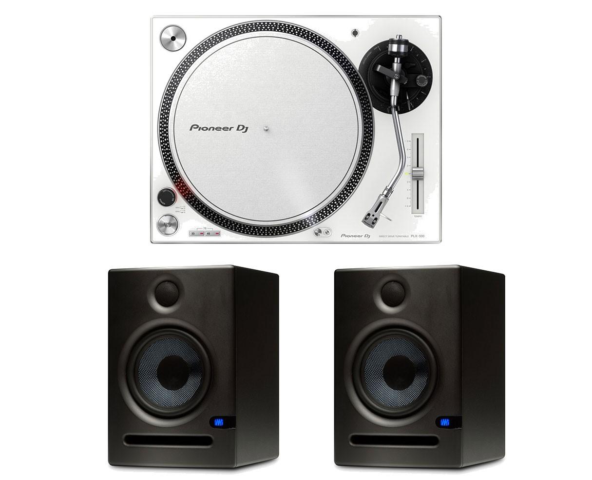 Pioneer PLX-500 (White) + 2x PreSonus Eris E5