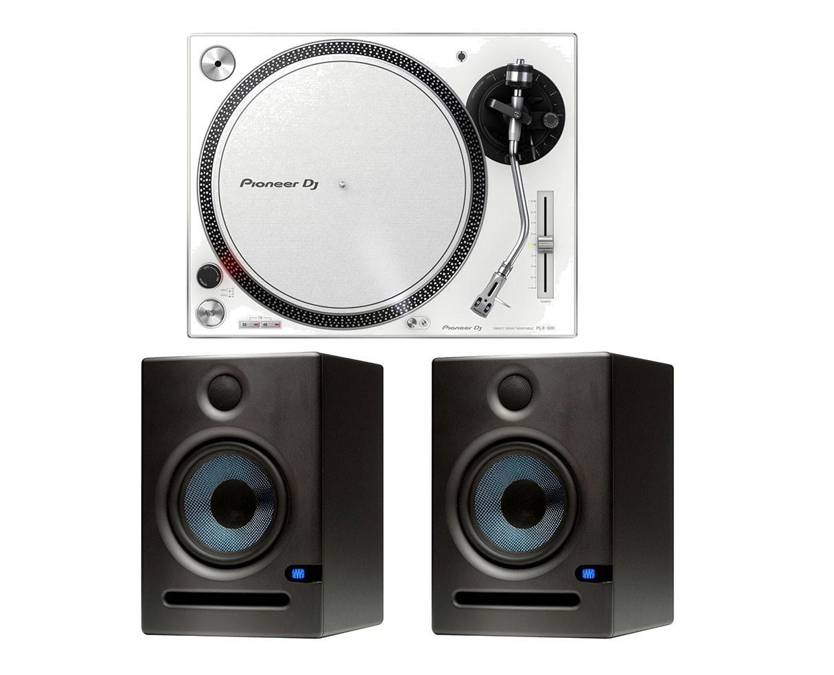 Pioneer PLX-500 (White) + 2x PreSonus Eris E8