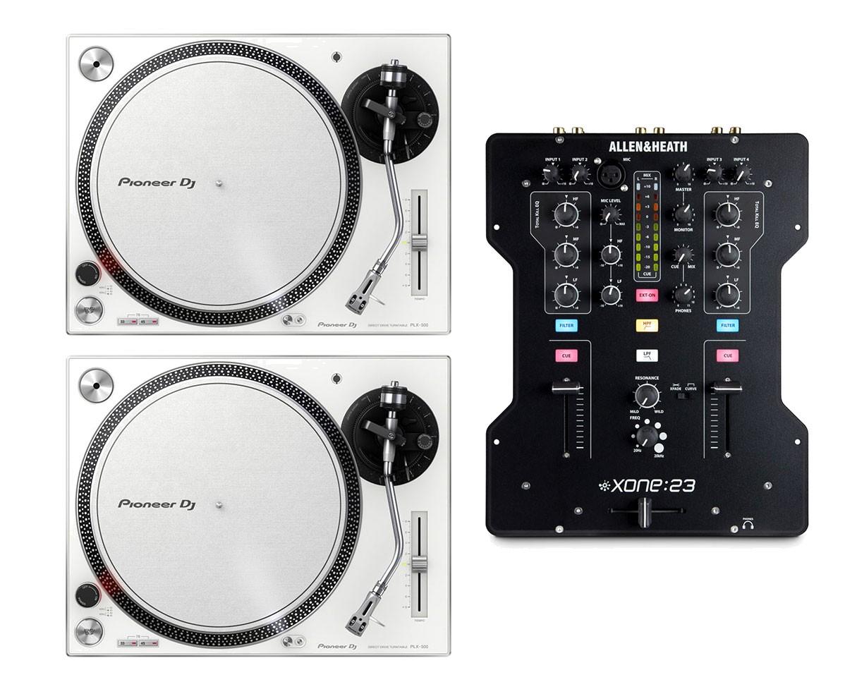 2x Pioneer PLX-500 (White) + Allen & Heath Xone:23