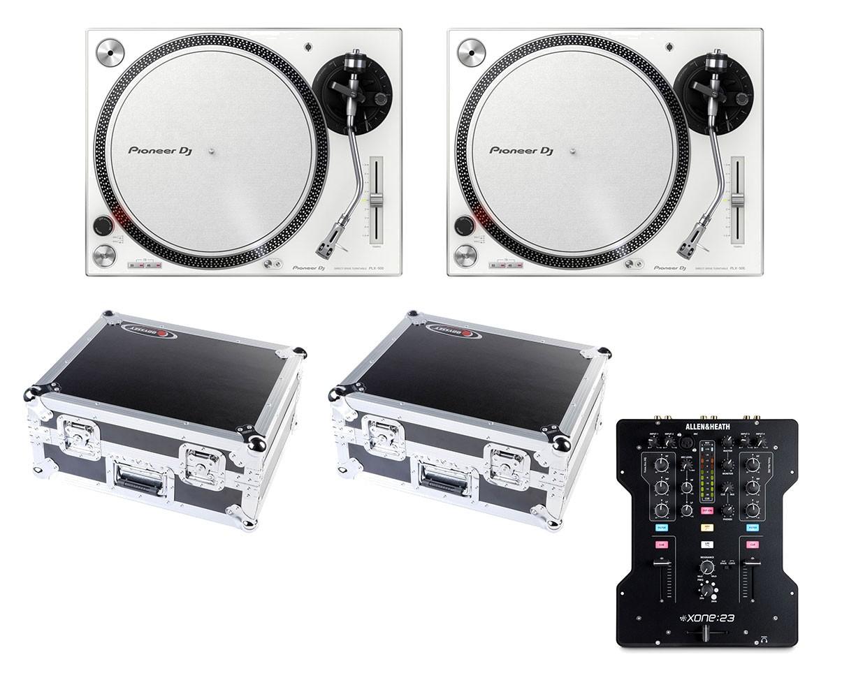 2x Pioneer PLX-500 (White) + Allen & Heath  Xone:23 + 2x Odyssey Cases