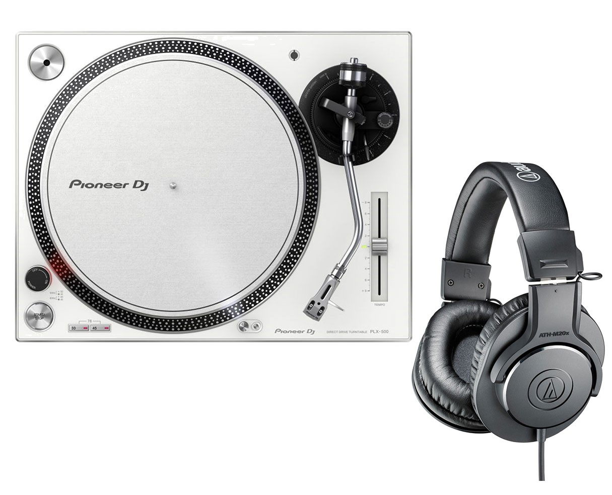 Pioneer PLX-500 (White) + Audio-Technica ATH-M20X