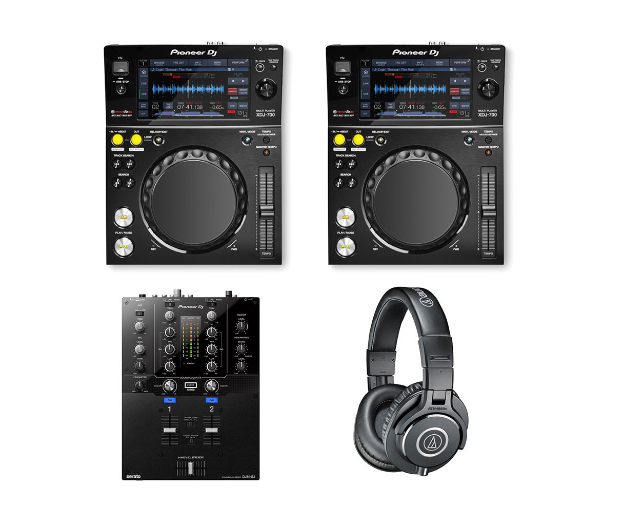 2x Pioneer XDJ-700 + DJM-S3 + ATH-M40X