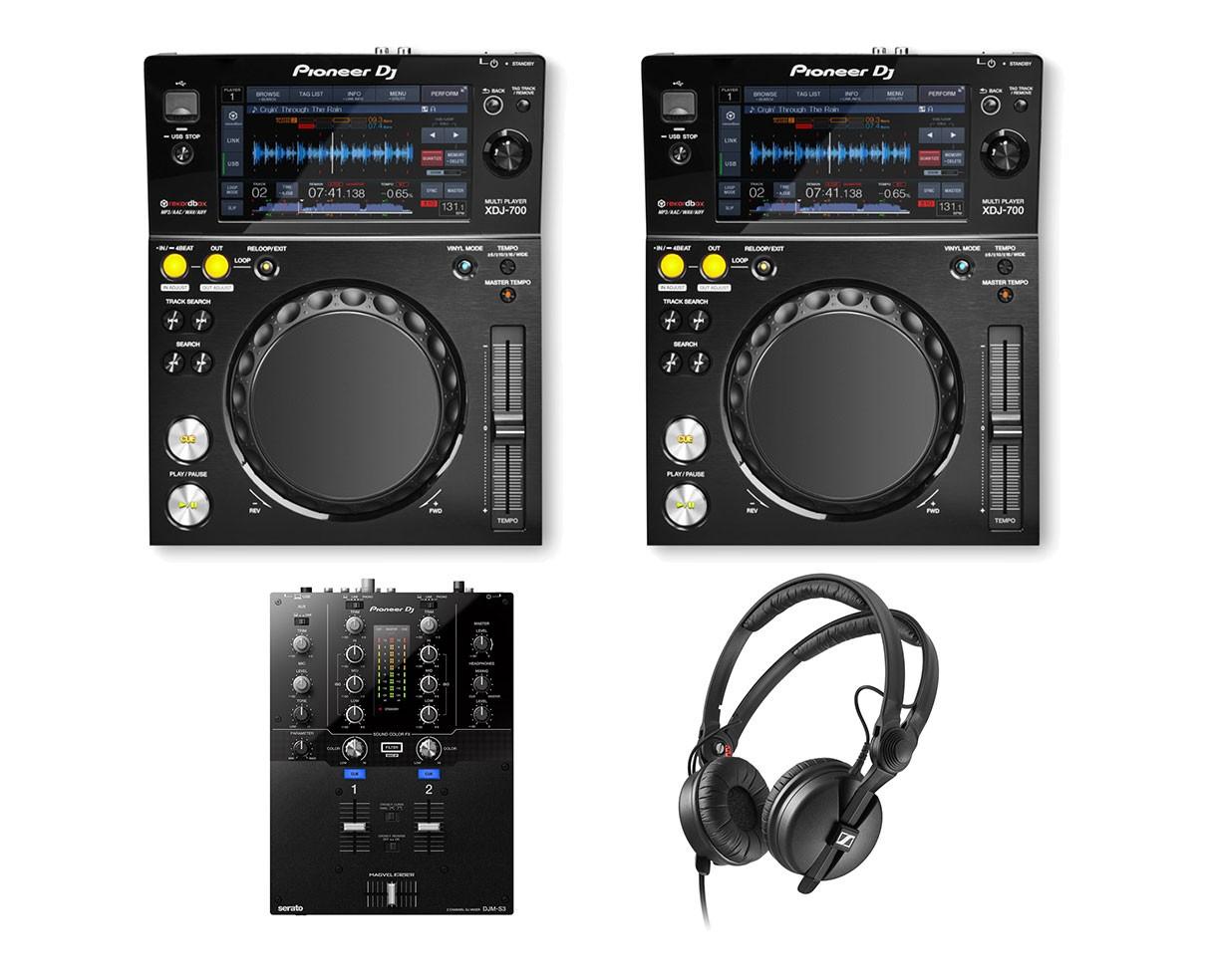 2x Pioneer XDJ-700 + DJM-S3 + HD 25