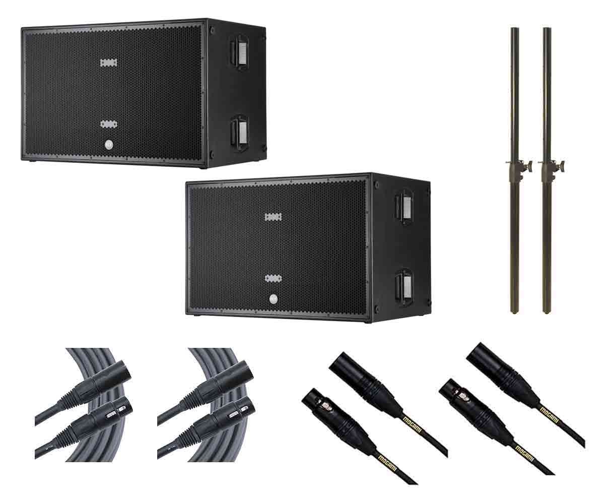 2x RCF SUB 8006-AS + Subwoofer Poles + Mogami Cables