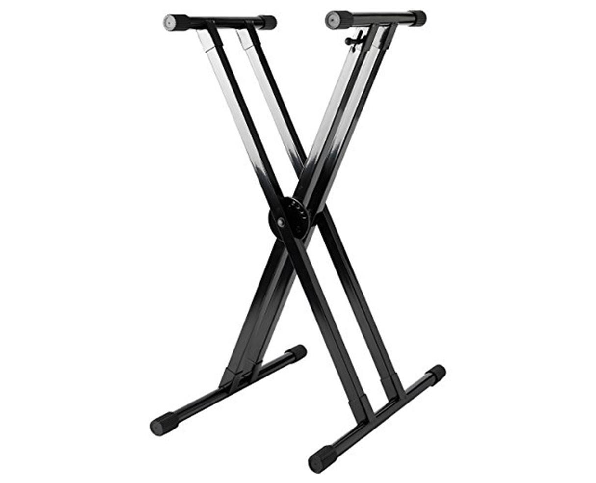 Strukture SK2XKD-BK Knockdown Keyboard Stand w/trigger - Gloss Black