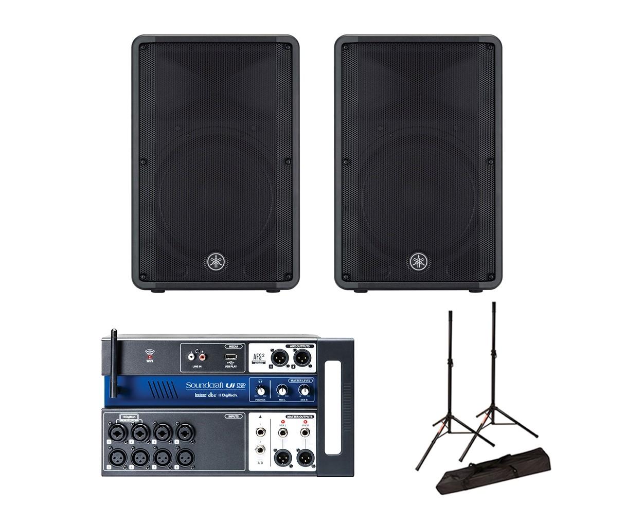 2x Yamaha DBR15 + Soundcraft Ui12 + Stands w/ Bag
