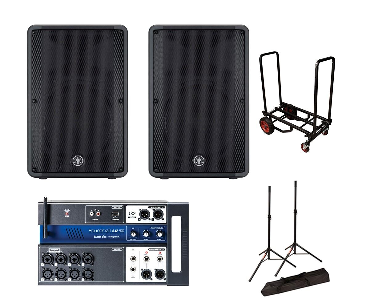 2x Yamaha DBR15 + Soundcraft Ui12 + Stands + Cart