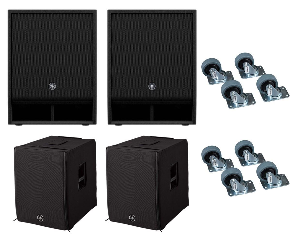 2x Yamaha DXS15XLF + Covers + Caster Kits